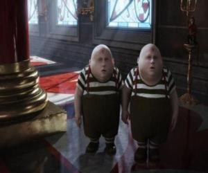 Tweedledee and Tweedledum chubby twins who are always fighting among themselves puzzle