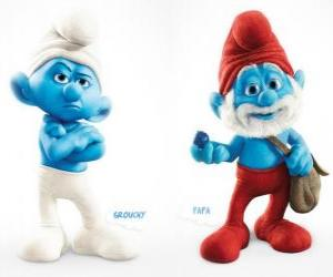 Two characters in the movie The Smurfs - Grouchy Smurf and Papa Smurf - puzzle