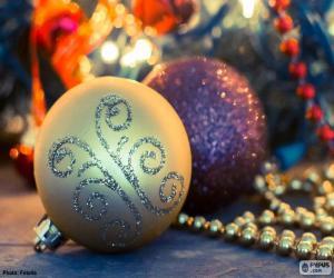 Two elegant balls Christmas puzzle