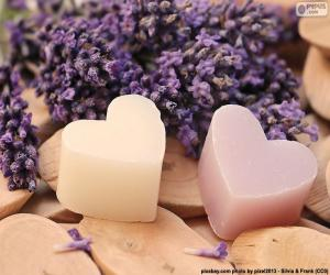 Two hearts with lavender puzzle