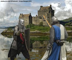 Two knights fighting in battle puzzle