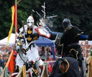 Two knights on horseback participating in a tournament puzzle