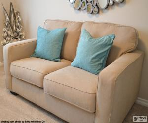 Two seater sofa beige puzzle