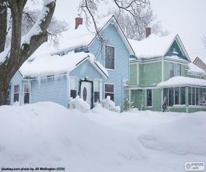 Two snow-covered houses puzzle