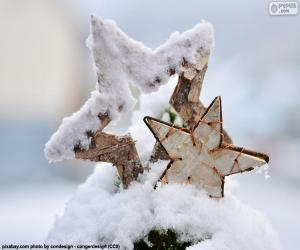 Two star with snow puzzle