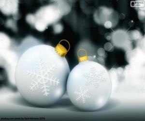 Two white balls Christmas puzzle