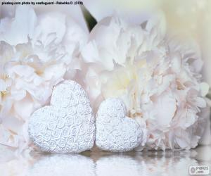 Two white hearts puzzle