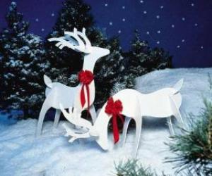Two wooden reindeer with a red bow on a Christmas decoration puzzle