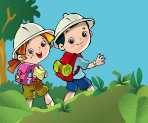 Two young explorers on an expedition puzzle