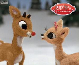 Two young reindeers Rudolph and Fireball puzzle
