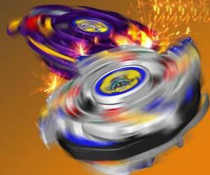 Tyson's Beyblade, the battling spintop of the Dragoon. Dragoon is Tyson's Bit Beast puzzle