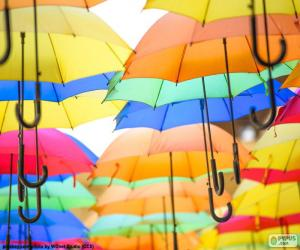 Umbrella of colors puzzle