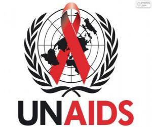 UNAIDS logo. Joint United Nations Programme on HIV / AIDS puzzle