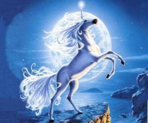 Unicorn - Young horse with a spiral horn puzzle