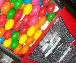 Vending machine of chewing gum balls, gumball machine puzzle