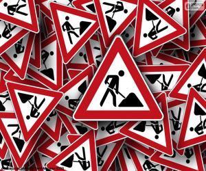 Vertical signs road works puzzle