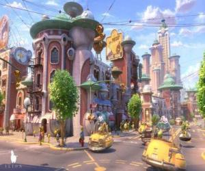 View of a street of Glipforg on Planet 51 puzzle