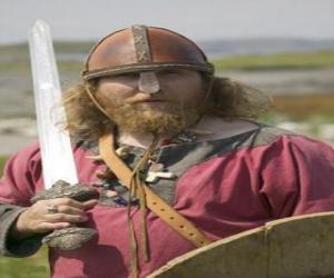 Viking armed with a sword and a shield puzzle