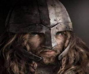 Viking face with mustache and beard and a helmet puzzle