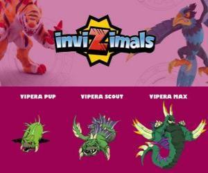 Vipera in three phases Vipera Pup, Vipera Scott and Vipera Max, Invizimals puzzle