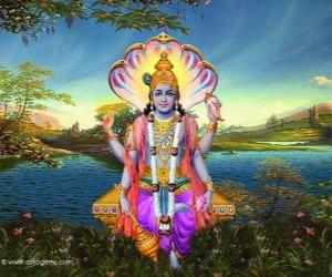 Vishnu, the preserver god in the Trimurti puzzle