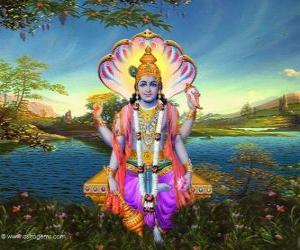 Vishnu, the preserver god in the Trimurti puzzle