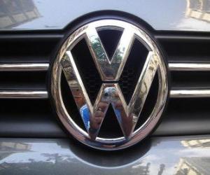 Volkswagen logo, German car brand puzzle