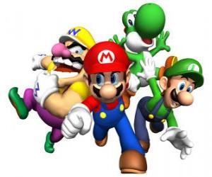 Wario, Mario, Yoshi and Luigi puzzle