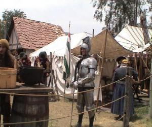 Warrior protected with armor and helmet and armed puzzle