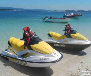 Water scooters, personal water crafts, PWC. Recreational watercrafts puzzle