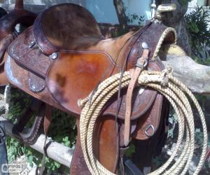 Western saddle with lasso puzzle