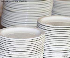 White porcelain plates puzzle