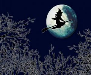 Wicked witch or evil witch in her magic broom flying toward the castle on a full moon night puzzle