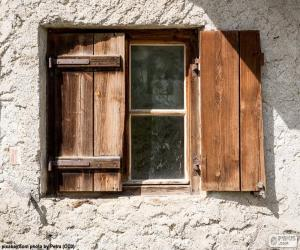 Window with shutters of wood puzzle
