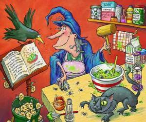 Witch preparing a magic potion with the weird ingredients puzzle