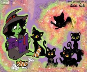 Witch with their black cats puzzle