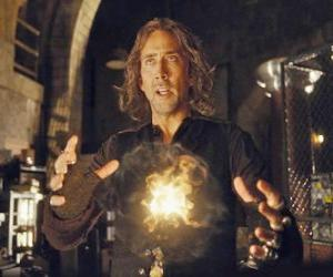 Wizard or sorcerer with the magic fire puzzle