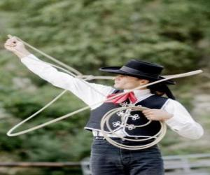 Woman cowboy handling the lasso puzzle