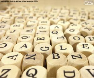 Wooden cube letters puzzle
