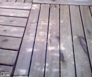 Wooden floor at outdoor puzzle