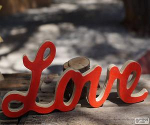 Wooden sign, Love puzzle