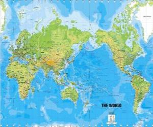 World map. Mercator projection puzzle
