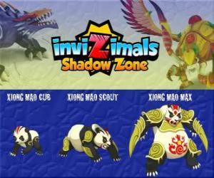 Xiong Mao Cub, Xiong Mao Scout, Xiong Mao Max. Invizimals Shadow Zone. This giant creature is the first guardian of the tomb of the Dragon Emperor puzzle