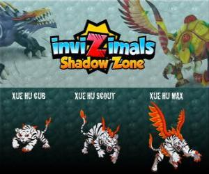 Xue Hu Cub, Xue Hu Scout, Xue Hu Max. Invizimals Shadow Zone. The white tiger of the sky is the fourth guard the tomb of the Dragon Emperor and the most powerful puzzle