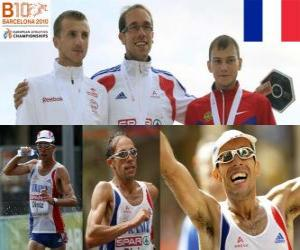 Yohann Diniz 50 km walk champion, and Sergey Bakulin Grzegorz Sudol (2nd and 3rd) of the European Athletics Championships Barcelona 2010 puzzle