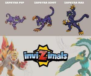 Zaphyra in three phases Zaphyra Pup, Zaphyra Scott and Zaphyra Max, Invizimals puzzle