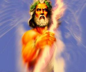 Zeus, the greek god of sky and thunder and the king of olympic gods puzzle