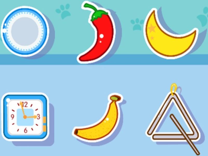 plate chili pepper moon clock banana triangle puzzle